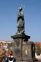 The statue of Jan Nepomucky on the Charles Bridge in Prague