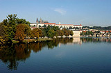 Reflection of the autum trees in the Vltava river