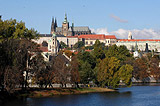 Prague Castle from the bank of the Vltava River in autumn