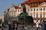 Shadows of spring and the Monument of Jan Hus