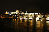 Night view of Vltava River, Charles Bridge and Prague Castle