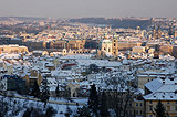 Hradcany and the Old Town covered in snow